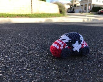 Red White and Blue Patriotic Race Car Amigurumi VW Bug