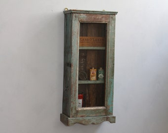 Hanging Cabinet Small Curio Home Temple Display Cabinet Teak Wood Reclaimed Bathroom Cabinet Kitchen Storage Boho Cabinet Olive Green