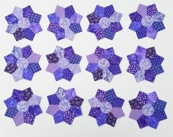 12 Scrappy Miniature Dresden Plate Purple Quilt Blocks 5 inches