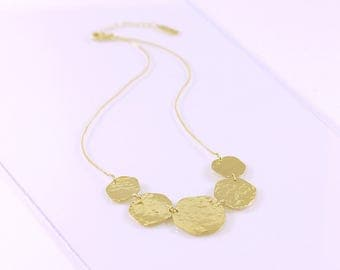 Galets breastplate gold-plated necklace, hammered mobile circles, adjustable, handmade in France, Statement necklace