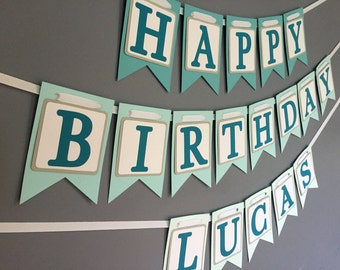 Happy Birthday Banner - Teal Aqua Ombre - Girls Boys Birthday Banner - Purple Banner - Spa Party - Slumber Party