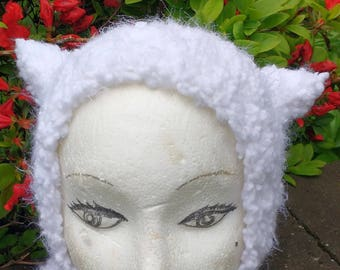 Vegan Cloud Kitty Cat Balaclava Hat Hood Hand Knit Size Toddler to Youth to Adult Small Medium