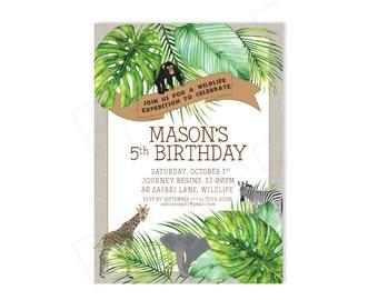 WildLife Expedition Birthday- Printable Party Invitation Jungle | Safari | Rainforest