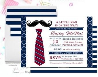 Baby Shower Invitation Boy, Boys Baby Shower Invitation, Little Man Baby Shower Invitation, Bow Tie Invitation, Mustache Bash, Baby Sprinkle