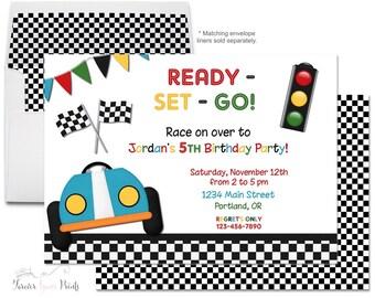 Printable Race Car Invitation, Boys Birthday Party Invitation, Race Car Invite, Race Car Party, Racing Party Invitation, Racing Invitation