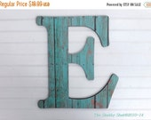 ON SALE Weathered Wood/ Turquoise / Letter E / Wall Wood Letter / Capital Letter / Nursery