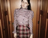 vtg 70s  plaid peasant top with ruffle trim sleeves and collar s