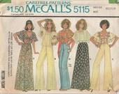 1970s Pants Pattern Wide Leg Tie-top Shirt Size 14 - 16 Uncut McCalls 5115 Vintage