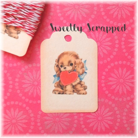 PUPPY DOG Tags, Valentine's Day, Heart, Gift Tag, Favor Tags, Packaging, Boy, Blue, DIY, Labels, Valentine, Supplies, Goody, Goodie, Treat