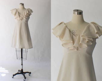 1960s Flutter Sleeve Mini Dress // 60s Vintage Short White Knit Empire Waist Dress // Small - Medium