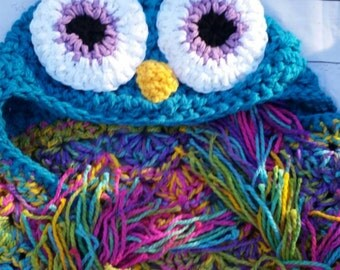 Hooded Owl Blanket- made to order, pick your color, owl, baby, children, adult throw, owl blanket, mjs pattern, owl hat