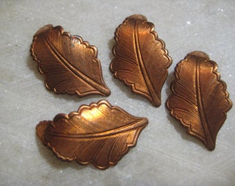 Vintage Leaf Decorations;   Detailed Copper Tone, Dapt Stamped Brass Leaf Design, No Hole, Brass Jewelry Findings,  32mm x 17mm, 4 Pcs.