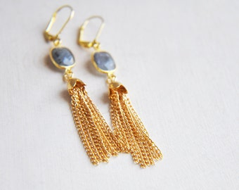 Labradorite Earrings, Tassel Earrings, Gold Tassel Earrings, Labradorite Stone, Stone Earrings, Long Earrings, Boho Earrings, Bohemian