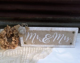 Rustic Wedding Mr & Mrs Burlap Sign