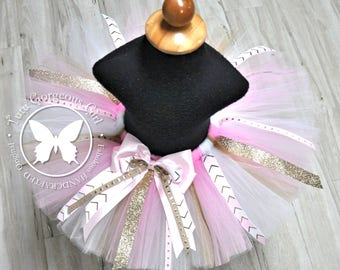 Girls Gold and Pink Party Tutu with Ribbon Streamers...Light Pink and Sparkle Gold Birthday Tutu...Newborn to Women's...SPARKLE AND PINK