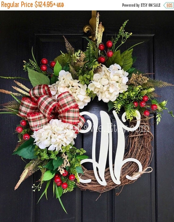 on sale new christmas wreaths for front door by fleursdelavie. Black Bedroom Furniture Sets. Home Design Ideas