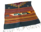 RESERVED: Vintage Woven Southwestern Rug… Navy, Red, Yellow Mexican Textile, Small Throw Rug, Wall Hanging, Boho Textile, Central American