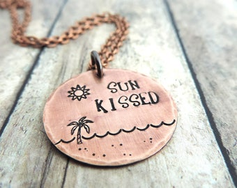Beach Necklace - Sun Kissed - Ocean & Palm Tree - Sun Necklace - Beach Girl - Summer Vacation - Whimsical - Summer Jewelry