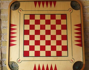 Vintage Caroom Game Board with Net Pockets. Table top skill game on reverseable framed and painted wood. Den, cabin or rec room wall art