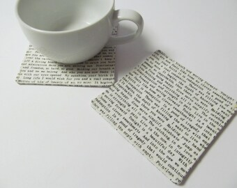 Set Of 2 Fabric Coasters/Letter