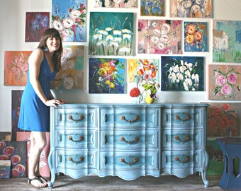 Gorgeous Blue Vintage Triple Dresser
