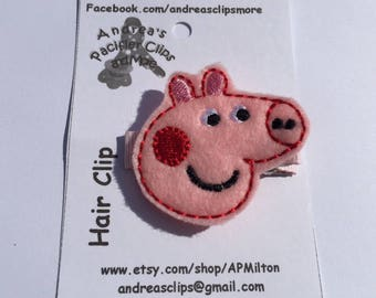Peppa Feltie, Embroidered Hair Clip, Peppa Clip, Peppa Hair Clip Canada, Pig Hair Clip, Embroidered Peppa