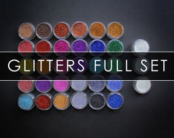 FULL SET of 43 jars - Shimmery Glitters Stars - shimmery effect purple green yellow pink blue turquoise snow white black