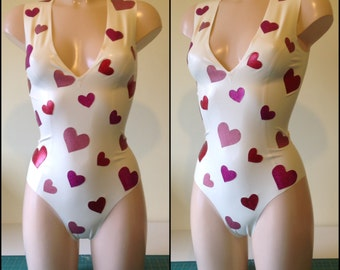 Latex Plunge Neck Bodysuit With Heart Applique