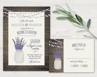 Mason Jar And Lavender Wedding Invitation  Rustic Mason Jar Wedding Set +  RSVP Cards Barn