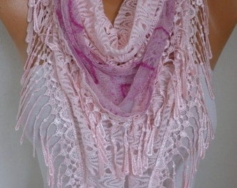 Pink Lace Scarf, Shawl Cowl Bridesmaid Gift Bridal Accessories Gift Ideas For Her Women's Fashion Accessories Scarves