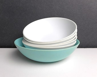 Vintage Melmac Bowl Set 6 pc White Aqua Modern Plastic Melamine Retro Kitchen