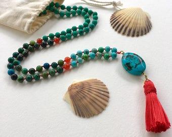 Turquoise, Carnelian, Chrysocolla, Howlite Zen Mala Necklace