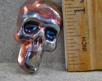Handmade Raku Skull Cabochon Metallic Reduction Glaze Green Gold Blue Copper Oscarcrow