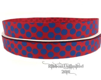 10 yds WHOLESALE 7/8 Inch RED and BLUE SuGaR DoTs grosgrain ribbon Low Shipping Cost