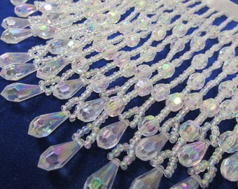 Crystal AB Very Thick and Long 6 inch Teardrop Alternating Beaded Fringe Decorator, Bridal or Costume Trim (1 yard)