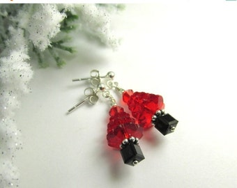 Christmas Tree Holiday Earrings in Swarovski Light Siam Red and Black - Choose from  14k gold fill or Fine Sterling Silver