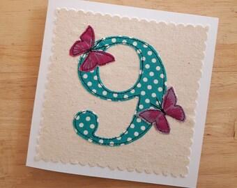 age 9 birthday card, 9th anniversary card,  applique textile card