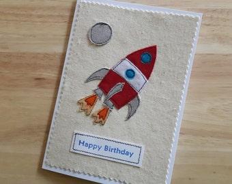 Rocket birthday applique / textile card