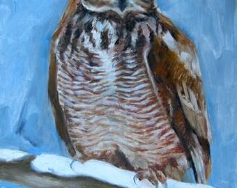 Owl on Snow-Holiday gift / Wedding gift / Birthday gift, Favorite animal, Original oil painting