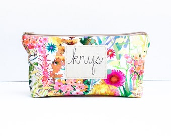 Personalized Zipper Pouch, Bridesmaid Gift, Personalized Jewelry Bag, Embroidered Bag, Liberty Tana Lawn Fabric MADE TO ORDER