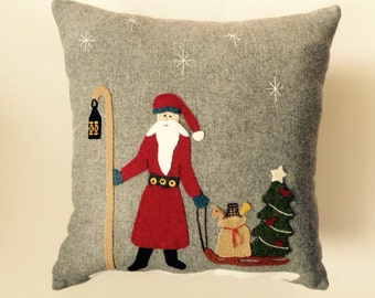 Primitive Couch Pillow with Santa Pulling Sled Gray Wool
