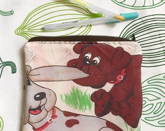 upcycled Pound Puppies vintage style zipper closure pencil or make-up bag by felice happy designs