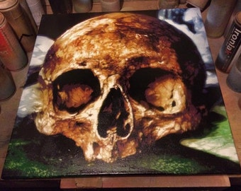 Osseous Cavity skull spray paint on canvas