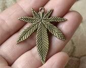 10 pcs  Charms Large Marijuana Leaf Pendant Antique bronze Tone, Pendant Charms Fingdings pendant,jewelry pendant finding