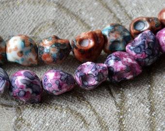 30beads  flower skull stone nugget stone Beads,Skull stone beads loose strands, Gemstone Bead loose strands