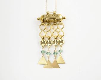 Gold Tribal Necklace With Aquamarine Glass Bead Accents