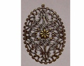 Antique Bronze Filigree 76x46mm with ring Jewelry Finding fretwork lattice work filagree fillagree lacy jewery supply 509x