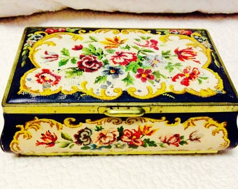 Vintage HOLLAND FLOWER Tin Box Floral with Hinged Lid Black Collectible