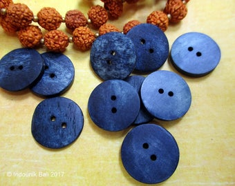 Denim Blue 15mm Dyed Bone Buttons 10pcs