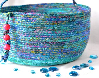 Turquoise Storage Container, Handmade Toy Organizer, Hand Coiled Knitting Basket, Aqua Blue Fabric Basket, Modern Chic Fabric Bin